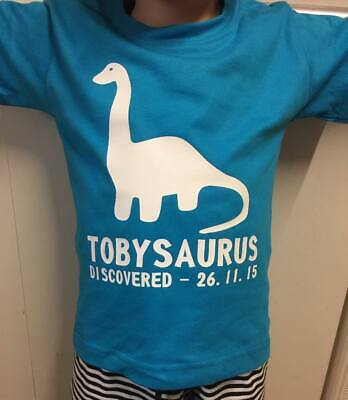 Personalised Dinosaur Kids Childrens T Shirt With Name And Birthday Novelty Top