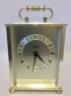 Clock Staiger Chrometron Quartz Germany Silver Carriage Mantle Clock