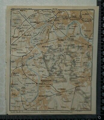1911 Vintage Baedeker Map - Environs of Richmond and Kingston, Surrey/Middx