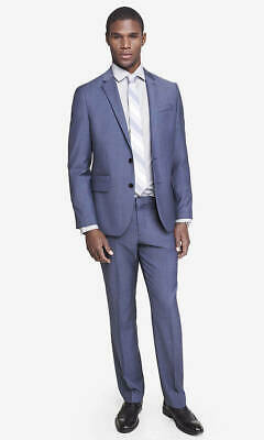 Express $426 Blue Slim Wool Twill 2Pc Suit Jacket 36R Pant 29/30