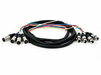 4 Channel Xlr Male To Xlr Female Snake Cable Cord With Metal Connector Housings