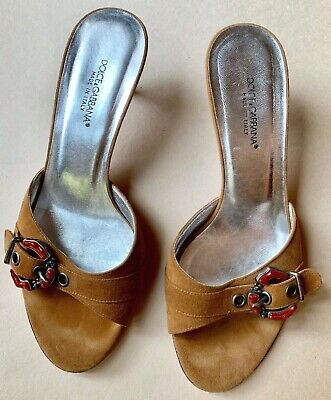 f4d0a2997abdb Dolce & Gabbana Suede Mules Slides Shoes Sandal with Kitten Heel, ...
