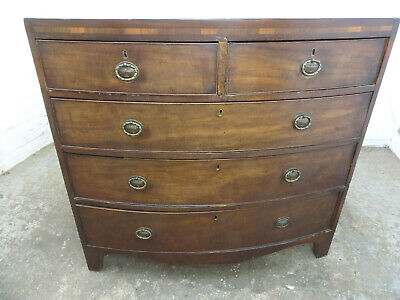 bow front,2 over 3,chest of drawers,splayed legs,antique,victorian,mahogany