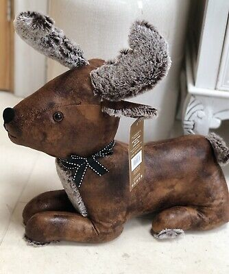 Rustic Heavy Faux Leather Stag Reindeer Doorstop Deer Door Stop Wedge Stopper