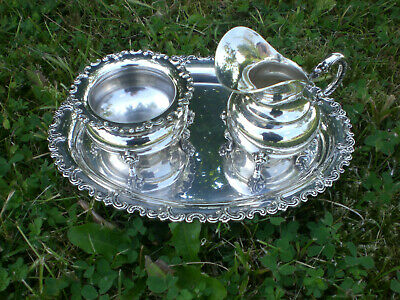 Altes Zucker Sahne Set m. Tablett 925 Silber Sterling Halbmond/Krone ☾♔ 281