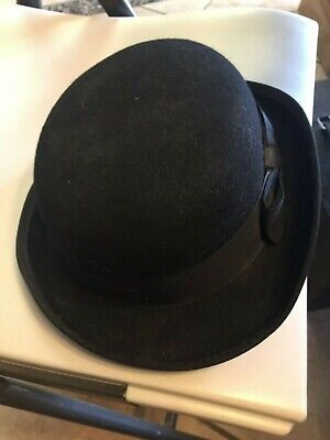 Felt Derby Hat Black Ultra Bowler S M L Men Women Dress Tuxedo Costume