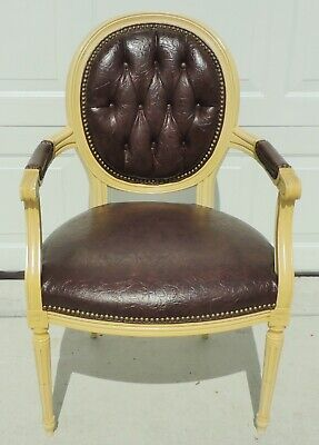 Antique/Vtg Tufted Leather Brass Stud Balloon Back Desk Dining Accent Arm Chair