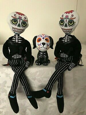 Halloween Day of the Dead Two Sugar Skull Skeleton Shelf Sitters with Dog Bundle