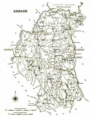 Large map of County Armagh, Ireland, C1840.