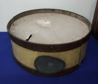 """Vintage maybe Antique 16"""" TIN Drum w Lots of PATINA"""