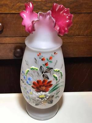 Antique Hand Blown Hand Painted Bohemian Cranberry Crimped Edge Glass Vase