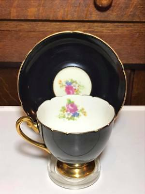 Shelley English Rose Black Teacup and Saucer