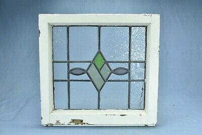 Antique  STAINED GLASS WINDOW DIAMOND TEARDROP DESIGN TEXTURED CLEAR GLASS 08181
