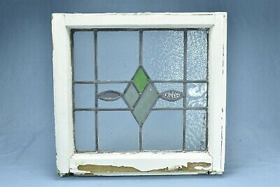 Antique  STAINED GLASS WINDOW DIAMOND TEARDROP DESIGN TEXTURED CLEAR GLASS 08180