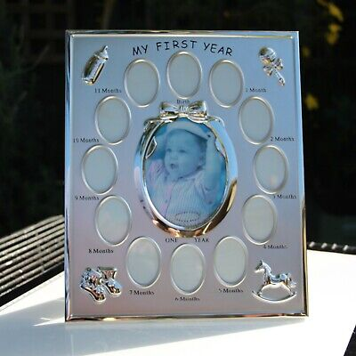 PRINZ Silverplated Baby Picture Frame My First Year 13 Photo Collage Gallery vgc