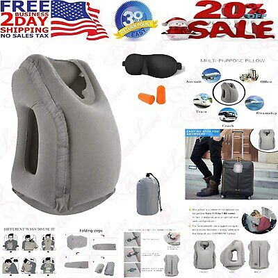 Inflatable Air Travel Pillow Airplane Neck Head Chin Cushion Office Nap Rest New