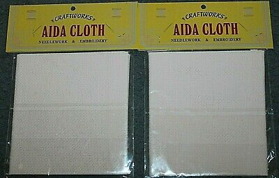 New in Packets x 2 AIDA CLOTH pale pink 30cm pieces x 2  NEW