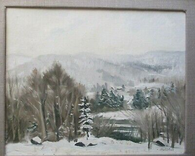 LOUIS MUHLSTOCK-Original Oil Painting-WINTER LANDSCAPE-Canadian/Polsih Artist