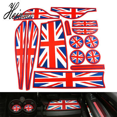 FOR 2008-18 MINI COOPER BLUE RED UNION JACK UK FLAG LEATHER KEY FOB HOLDER POUCH