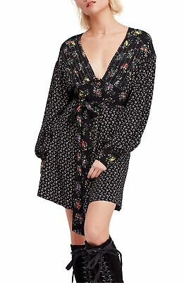 "FREE PEOPLE $128 ""Wonderland"" Long-Sleeve Contrast Black Dress XS 0/2 X-Small"