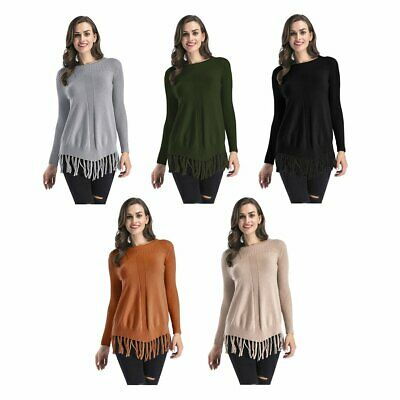 Autumn Winter Women Sweater O-neck Solid Color Fashion Tassels Knitted  AH⊿
