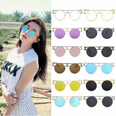 Colorful Trendy Vintage Women Metal Frame PUNK Style Sunglasses Round  C⊥