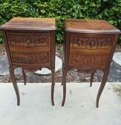 Pair French Provincial Wood Nightstands End Tables with Drawers