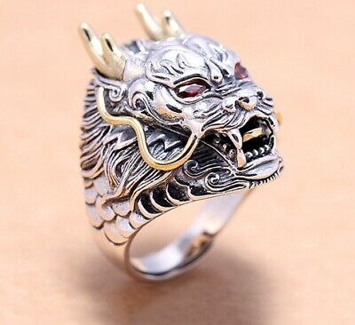 925 Sterling solid Silver Mens Biker Thai Dragon Punk Ring Rings Jewelry S3938