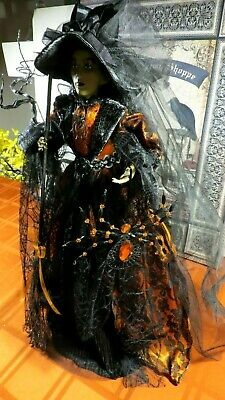 """Halloween Witch Doll W/Jewels,Broom,Ribbons + Bead Spider Ornament 23"""" Table Top"""