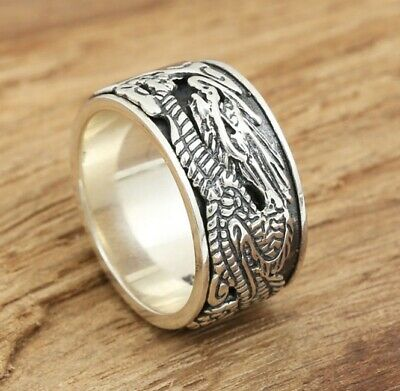 925 Sterling Silver Mens Biker rotate  Dragon Ring Rings Jewelry size7-11 S3940