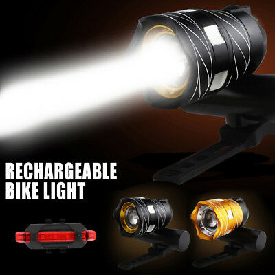 Bike Bicycle Headlights USB LED Rechargeable Mountain Cycle Front Torch Lamp AU