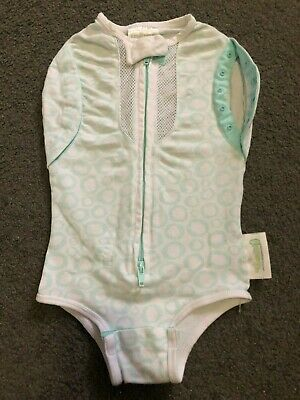 Size 3-6M / 00 (Big Baby) ~ WOOMBIE ~ Mint / White Zip Front Swaddle ~EUC!