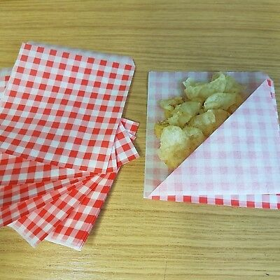 Greaseproof Paper Bags Red Gingham Print Open on 2 Sides, chips, sweets,Free P&P
