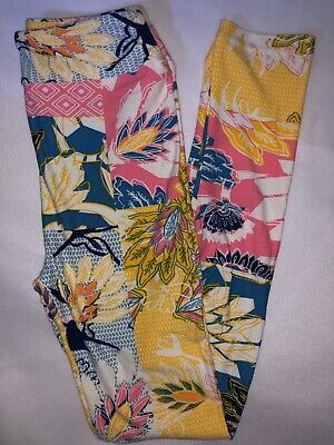LuLaRoe Kids Leggings L/XL New Multicolored Design W/ Floral Fits 8-12