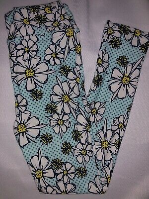 LuLaRoe Kids Leggings L/XL New Blues Polka Dots W/ White Flowers Fits 8-12