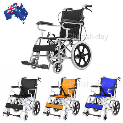 Folding Wheelchair Light Weight Manual Mobility Aid Park Brakes Push Solid Tire