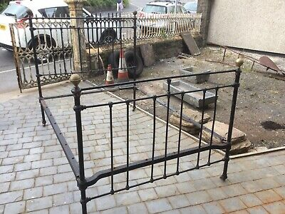Vintage Victorian Antique Brass And Iron Double Bed 4ft 6
