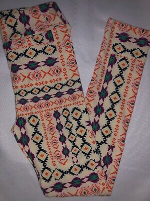 LuLaRoe Kids Leggings L/XL New Cream W/ Multicolor Aztec Design Fits 8-12