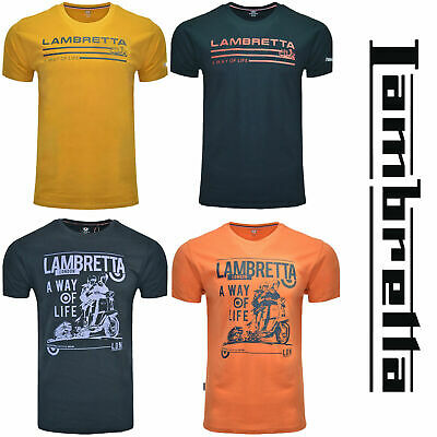 Lambretta T-Shirts Print Short Sleeve A Way Of Life Mens Cotton Retro UK S-4XL