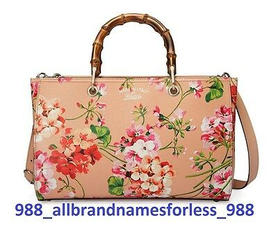Gucci Bamboo Shopper Blooms Leather Tote, Apricot/Multi-Color, Med, MSRP $2,290