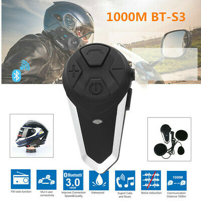 1000m BT-S3 Bluetooth Motorcycle Helmet Intercom Motorbike Wireless Ae