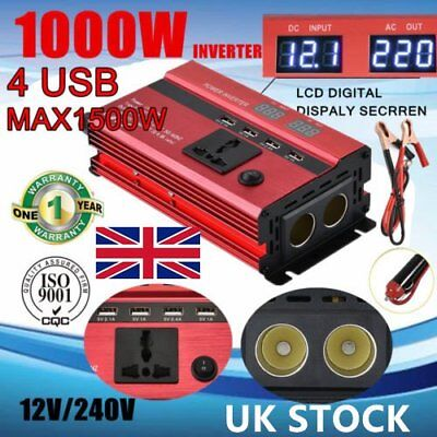 1000W 1500W 12V to 240V Car Power Converter Inverter Charger 4 USB Digital 6M