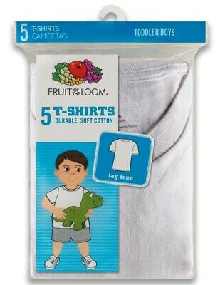 Fruit Of The Loom Toddler Boy's Crewneck T-Shirts - 5-Pack - White - Size 4T/5T