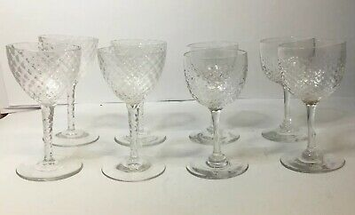 8 X Late Victorian Or Early Edwardian Cordial Glasses, 4 & 4 Two Types, Quality