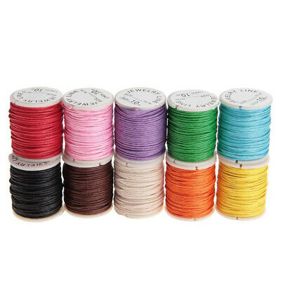 10 x 10m Waxed Cotton Cords Strings Bead Ropes Necklace Bracelet Craft Making