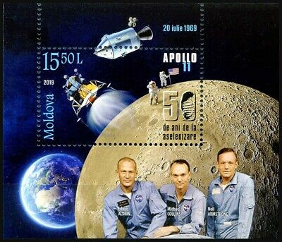 2019 Moldova, space, Apollo 11, moon landing, Neil Armstrong, s/sheet, MNH