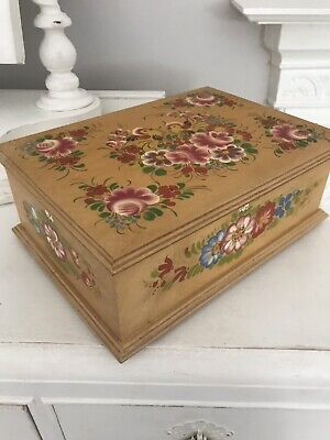 Vintage Wooden Painted Floral Chest Box Handy Storage Jewellery Stationary Box