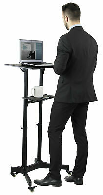 Mount-It! Mobile Standing Height Desk   With Caster Wheels