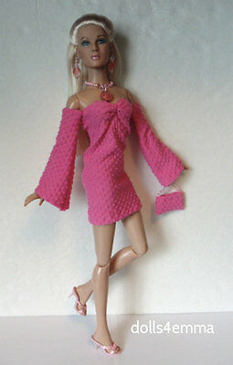 TYLER DOLL CLOTHES sexy pink Dress, Purse, Jewelry handmade FASHION NO DOLL d4e