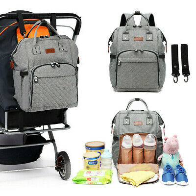 Women Travel Diaper Nappy Backpack Set Multi-Function Tote Baby Mummy Bag Grey